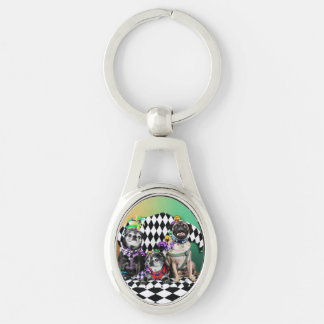 Pugsgiving Mardi Gras 2015 - Wendy Madison Nelson Silver-Colored Oval Metal Keychain