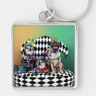 Pugsgiving Mardi Gras 2015 - Wendy Madison Nelson Silver-Colored Square Keychain