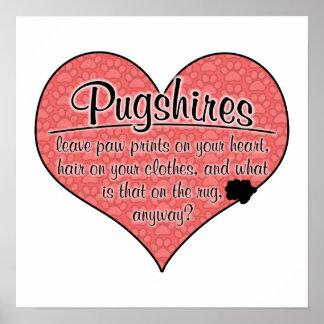 Pugshire Paw Prints Dog Humor Posters