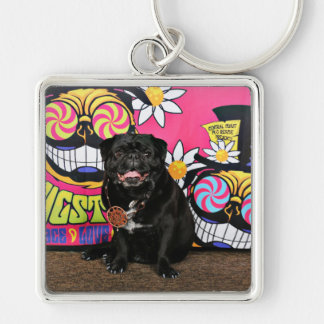 Pugstock 2015 - Odie - Pugs Silver-Colored Square Keychain