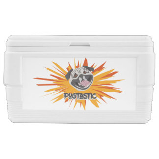 Pugtastic illustration dog smiling happy pug chest cooler