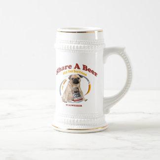 Pugweizer Share A Beer with your best friend 18 Oz Beer Stein