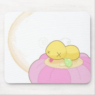 puk and mushroom mouse pad