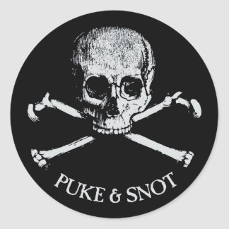 Puke And Snot Skull and Crossbones Stickers