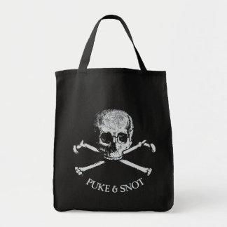 Puke y cráneo y bandera pirata del Snot Bolsa Tela Para La Compra