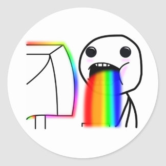 Pukes los arco iris pegatina redonda