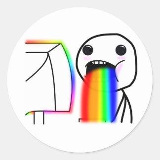 Pukes Rainbows Classic Round Sticker