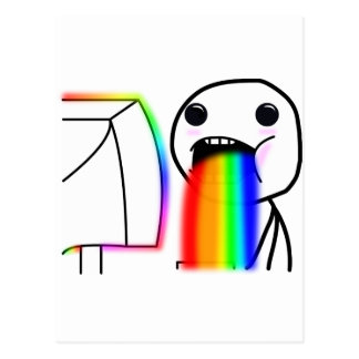 Pukes Rainbows Postcard