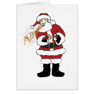 Puking Santa Christmas Card