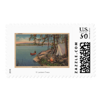 Pulaski, NY View of Canoe, Camping, Tent, Lake Postage