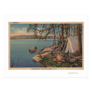 Pulaski, NY View of Canoe, Camping, Tent, Lake Postcard