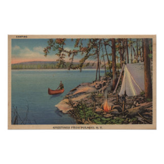 Pulaski, opinión de la canoa, acampando, tienda, l póster