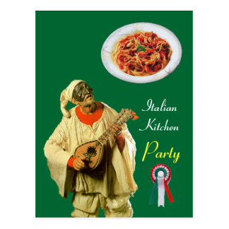 PULCINELLA  ITALIAN KITCHEN PARTY Green Recipe Postcard