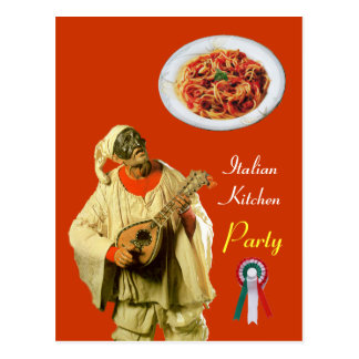 PULCINELLA  ITALIAN KITCHEN PARTY Orange Recipe Postcard