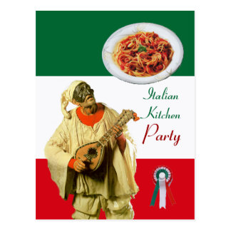 PULCINELLA  ITALIAN KITCHEN PARTY Red Green Recipe Postcard