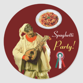 PULCINELLA  ITALIAN KITCHEN PARTY Red Green White Classic Round Sticker