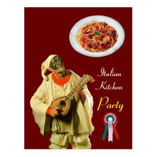PULCINELLA  ITALIAN KITCHEN PARTY red Recipe Postcard