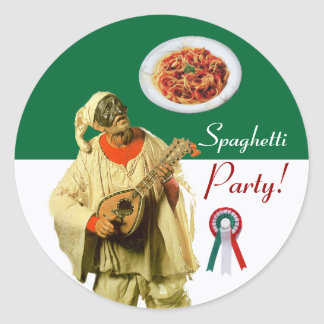PULCINELLA  ITALIAN KITCHEN PARTY red white black Classic Round Sticker