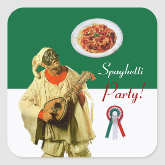 PULCINELLA  ITALIAN KITCHEN PARTY red white black Square Sticker