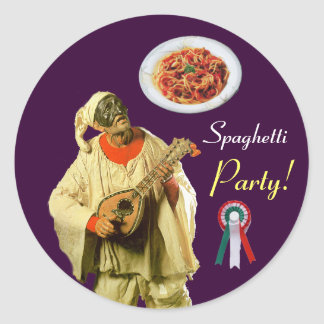 PULCINELLA  ITALIAN KITCHEN PARTY red white purple Classic Round Sticker