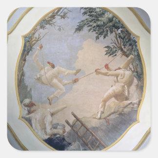 Pulcinella on a Swing, 1797 (fresco) Sticker