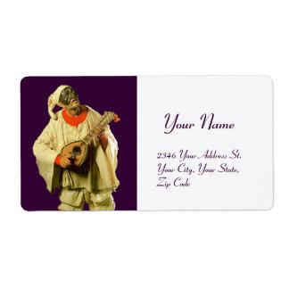 PULCINELLA WITH MANDOLIN purple white Label