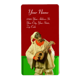 PULCINELLA WITH MANDOLIN red green white Label