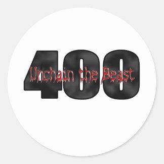 pulgadas cúbicas de la bestia 400 pegatina redonda