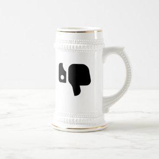 Pulgares abajo taza de café