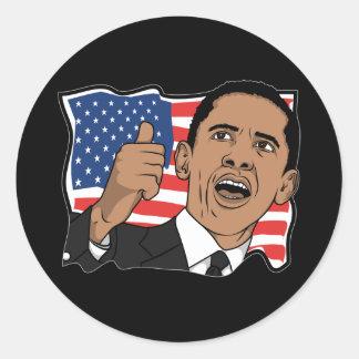 Pulgares de Barack Obama para arriba Pegatina Redonda