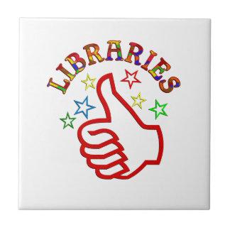 Pulgares de las bibliotecas para arriba azulejo cuadrado pequeño