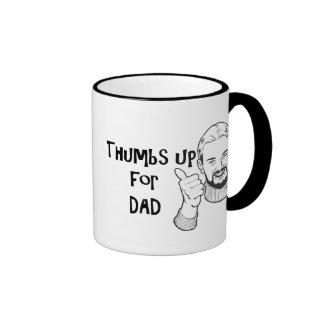 Pulgares del día de padre para arriba para la taza