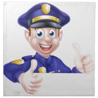 Pulgares dobles del policía para arriba servilleta imprimida