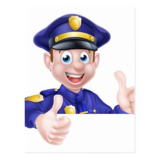Pulgares dobles del policía para arriba tarjeta postal
