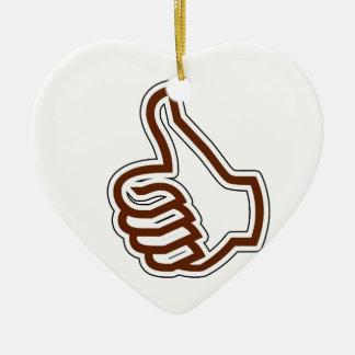 Pulgares para arriba adorno navideño de cerámica en forma de corazón