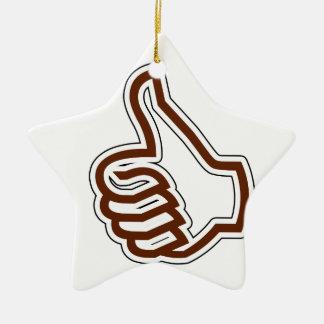 Pulgares para arriba adorno navideño de cerámica en forma de estrella