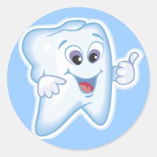 ¡Pulgares para arriba para la higiene dental! Pegatina Redonda