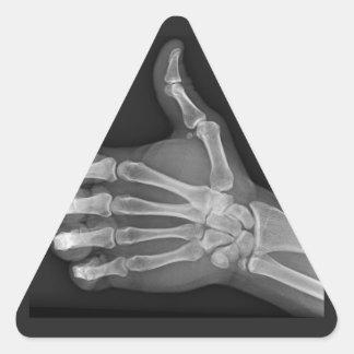 Pulgares para arriba pegatina triangular