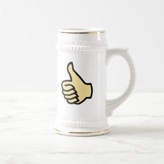 Pulgares para arriba tazas de café