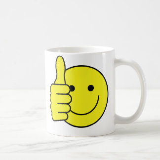 Pulgares sonrientes tazas de café
