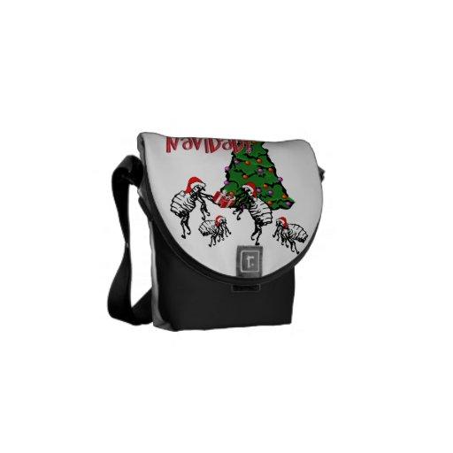 Pulgas Navidad - pulgas y árbol del navidad Bolsas Messenger