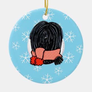Puli lo dejó nevar adorno navideño redondo de cerámica