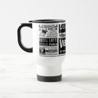 Pulicidad, old, black and white newspaper travel mug