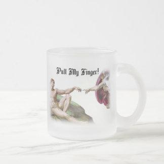 Pull My Finger Fart Humor Frosted Glass Mug
