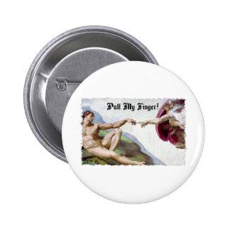 Pull My Finger - Michelangelo Creation Fart Humor Pinback Button