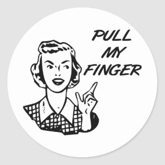 Pull My Finger Retro Housewife B&W Classic Round Sticker