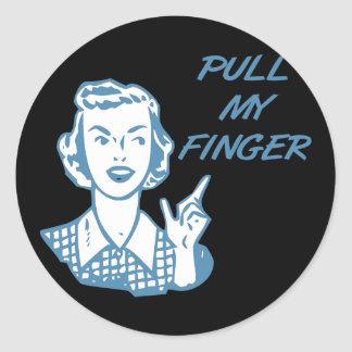 Pull My Finger Retro Housewife Blue Classic Round Sticker