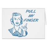 Pull My Finger Retro Housewife Blue Greeting Cards