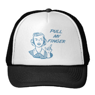 Pull My Finger Retro Housewife Blue Trucker Hat