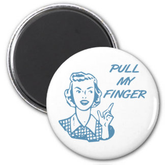 Pull My Finger Retro Housewife Blue 2 Inch Round Magnet
